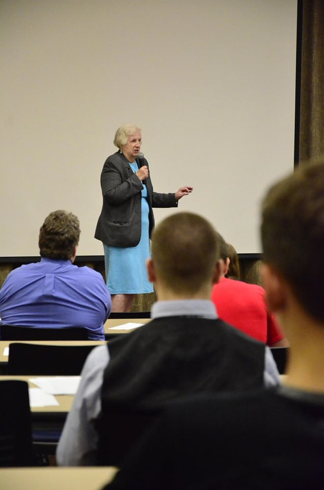 Alice Ely Chapman, Founder of the Ely Chapman Education Foundation, speaks at the Septmeber 22nd 2016 PioPitch program at Marietta College