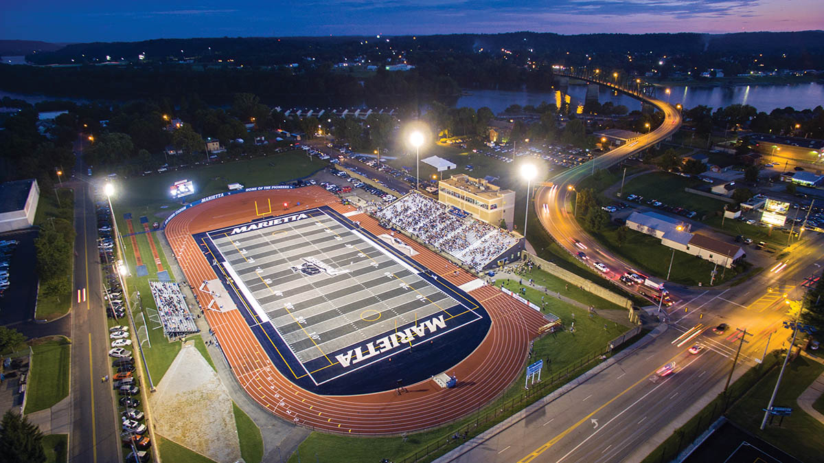 A drone shot looking down at the new Don Drumm stadium at dusk