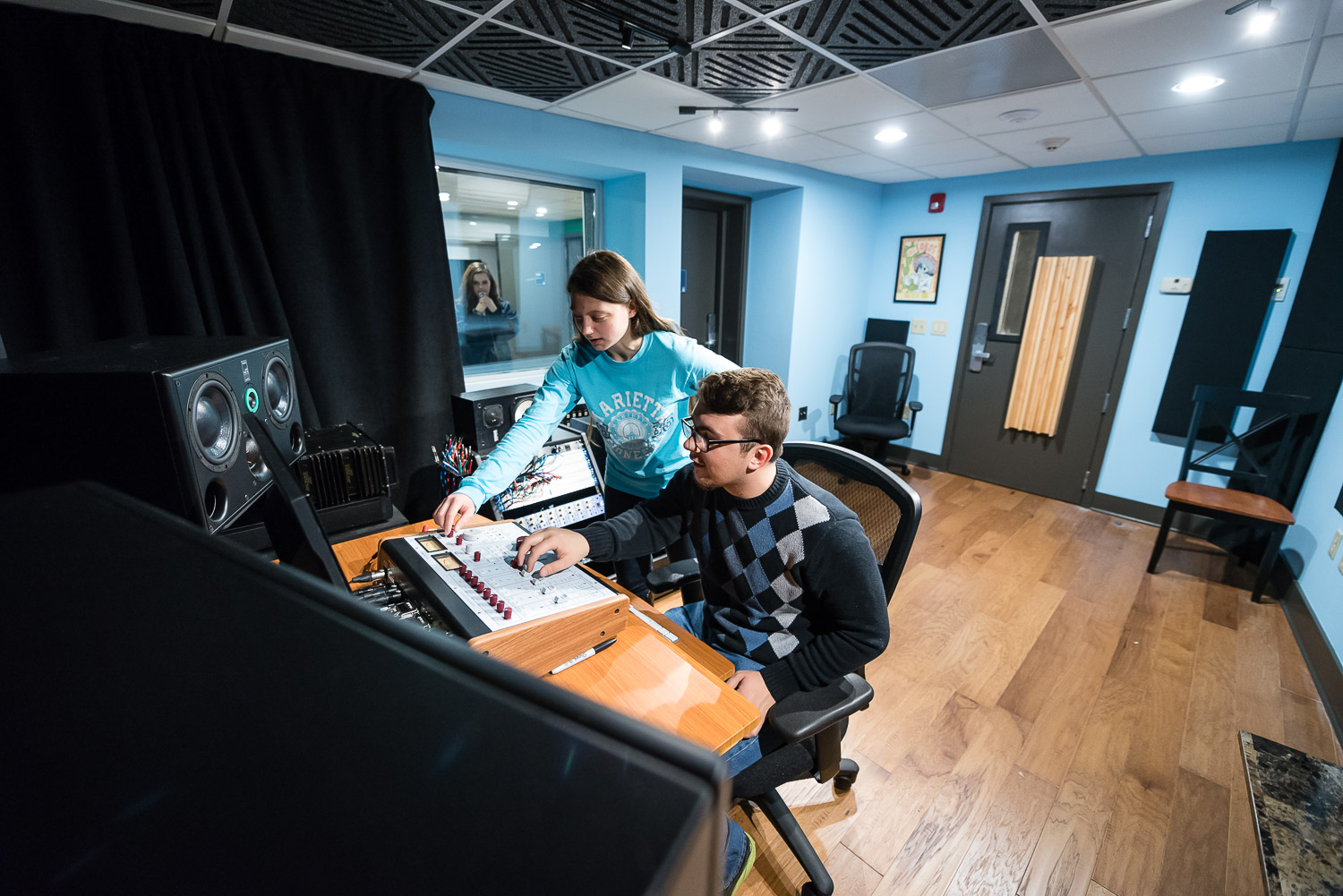 Two Marietta College students in the new recording studio