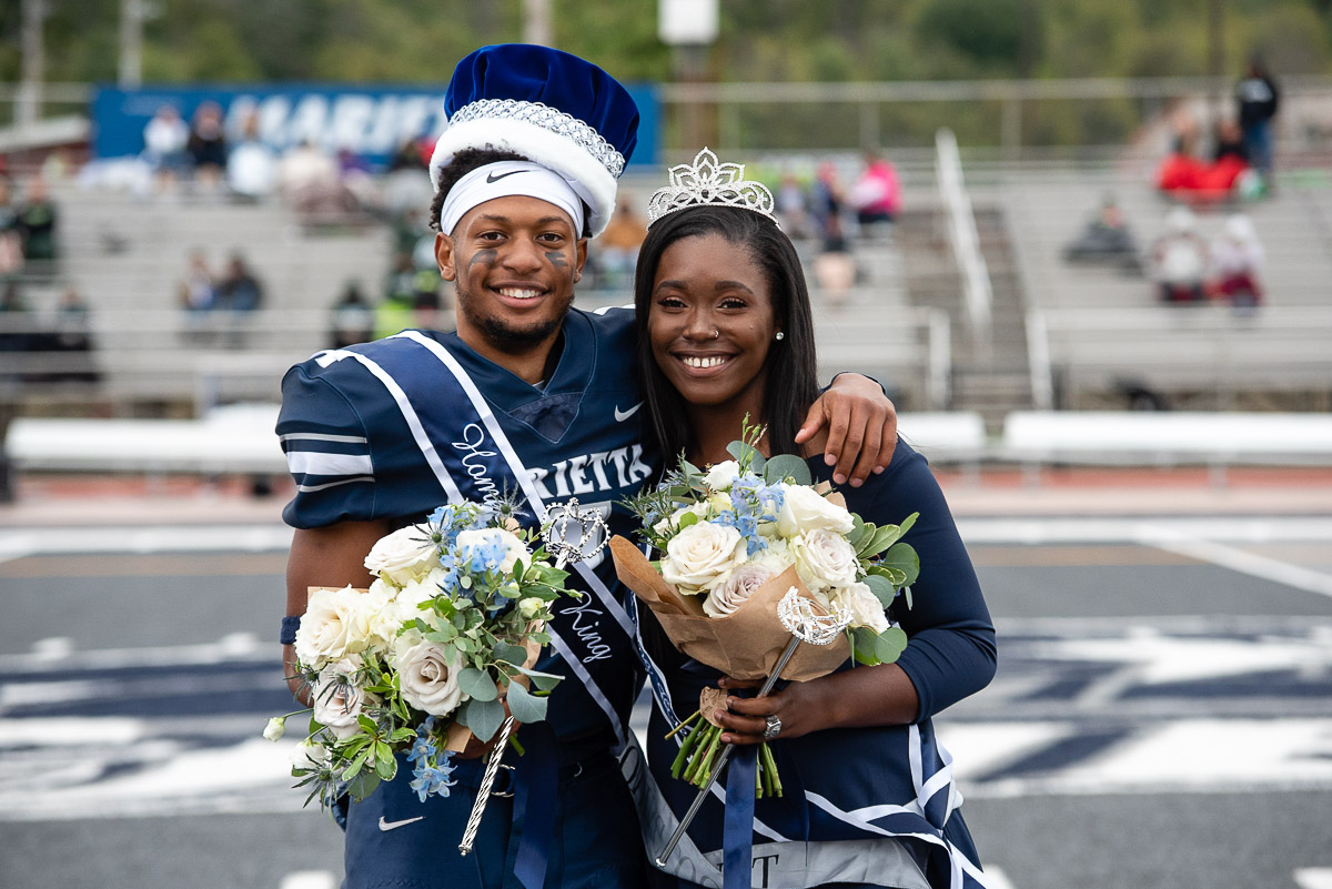 Darrien Fields '19 and Jo Herd-Middlebrooks '19 were named Homecoming King and Queen. Fields broke Marietta's record for career touchdown passes and Herd-Middlebrooks is a forward on Marietta's first OAC championship women's basketball team