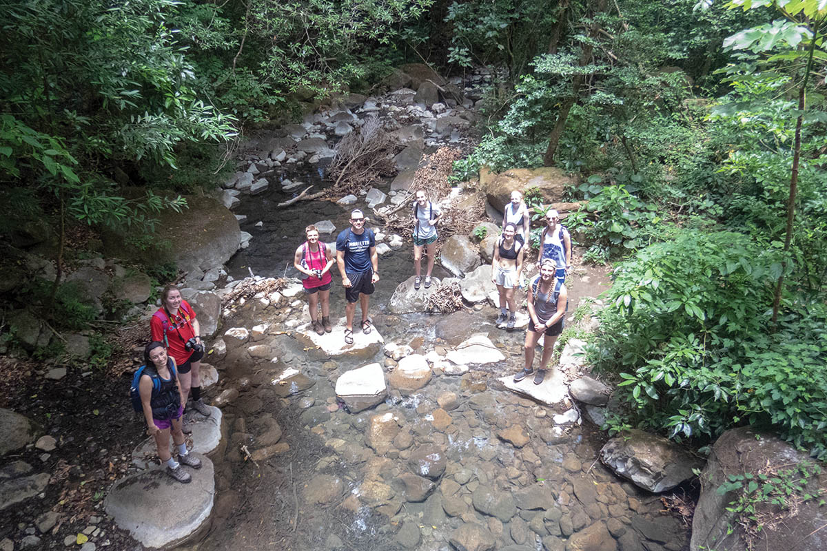 Marietta College and Christopher Newport University students explore a Central American stream