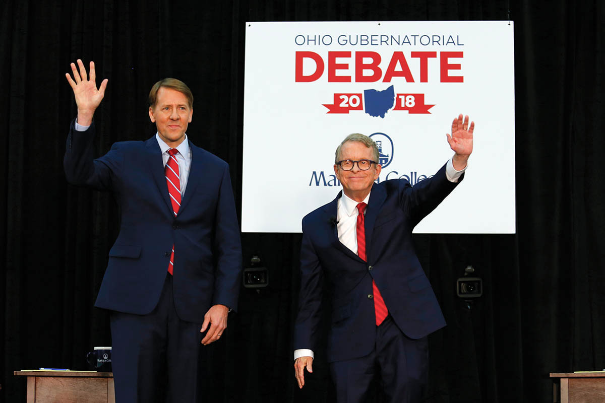 Marietta College hosted a town hall debate on October 1st for Ohio gubernatorial candidates Richard Cordray (left) and Mike DeWine.