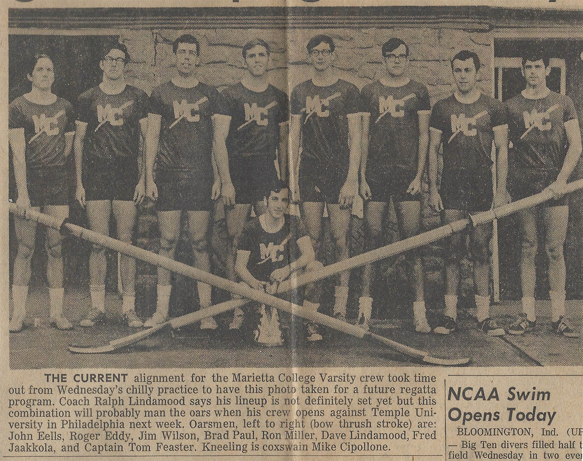 newspaper clipping showing the 1968 varsity 8 shell