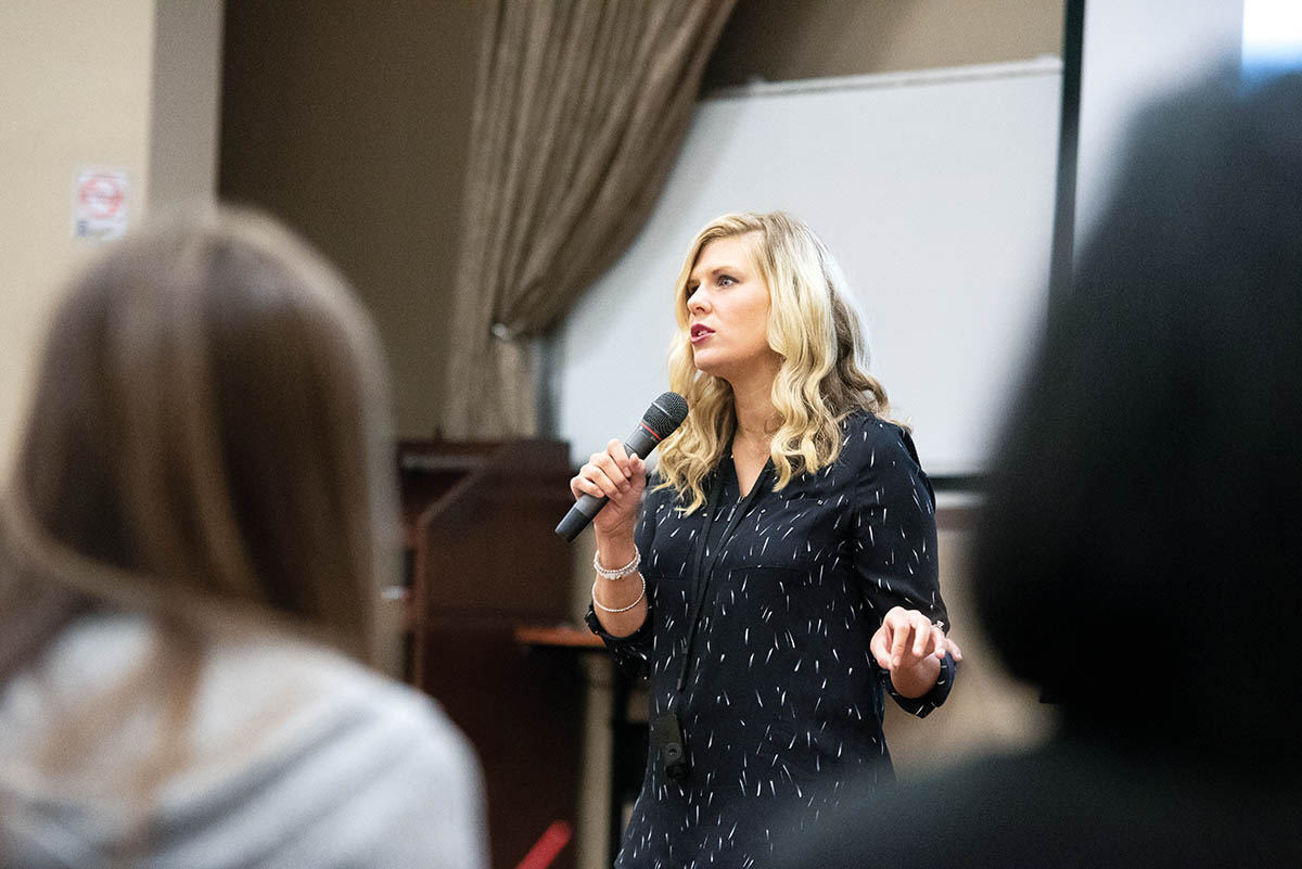 Megs Schreck Yunn '06, founder of Beverly's Birthdays, returned to Marietta in October to speak to students about her charity and its impact on the lives of homeless children