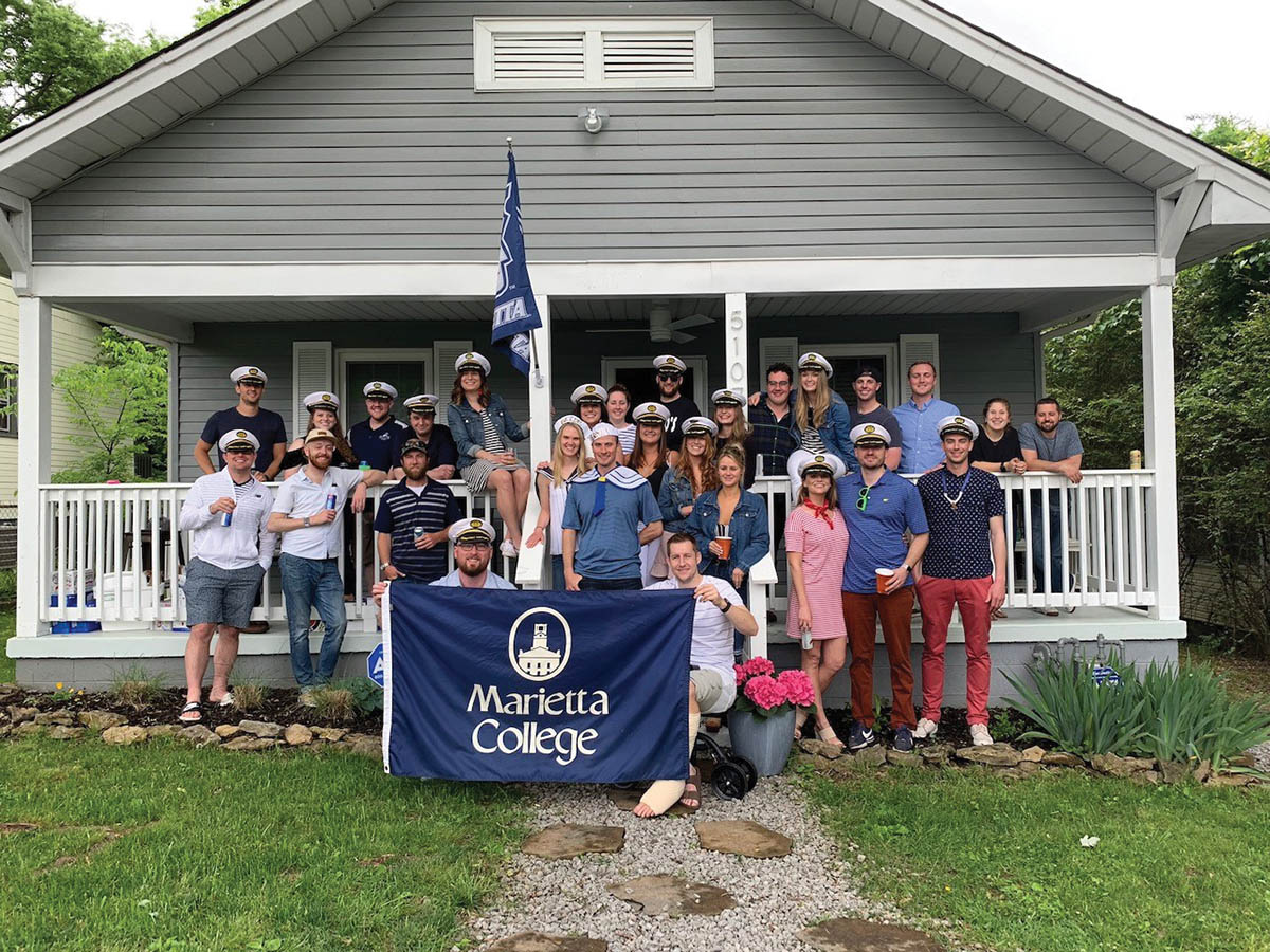 Joe Mahoney '13 shared a photo of a Marietta College reunion in Nashville, Tennessee that included 25 Pioneers