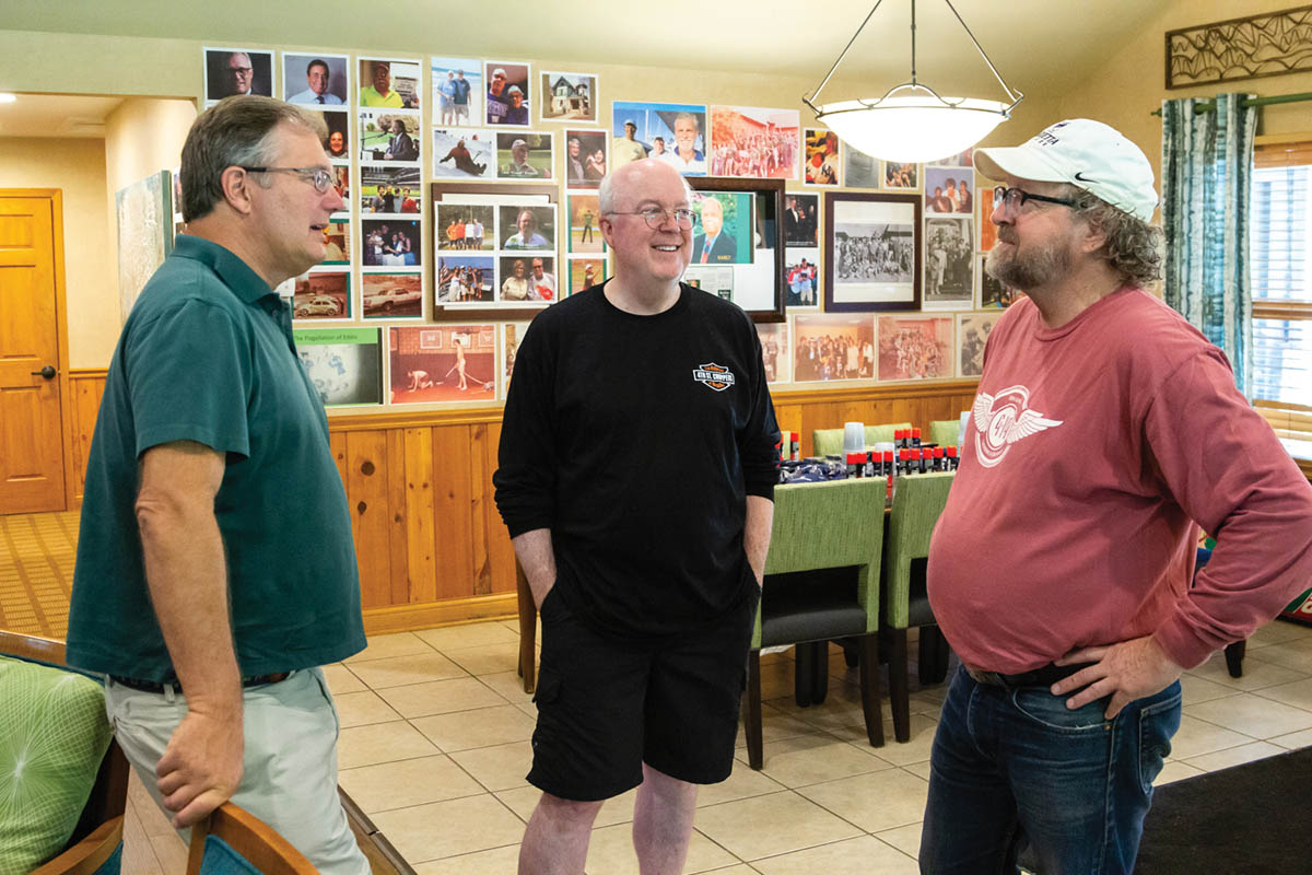John Lubimir '79, Bruce Kinney '79 and Bill Kingzett '79 share some stories during the 21st annual Lambda Chi Alpha summer reunion at Oglebay Resort & Conference Center in Wheeling, West Virginia