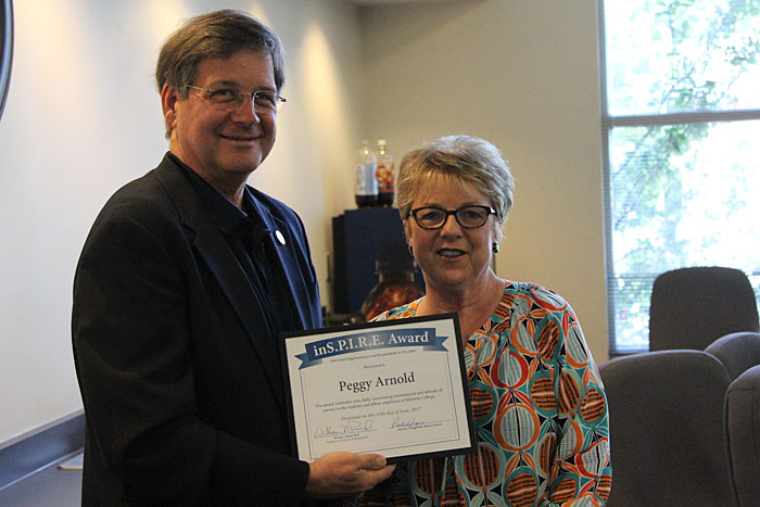 Peggy Arnold receives the Marietta College Inspire Award