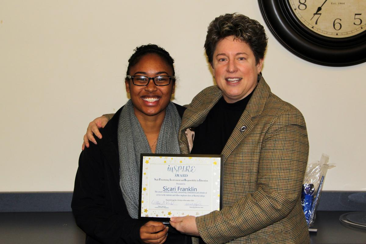 Sicari Franklin receives the Marietta College Inspire Award