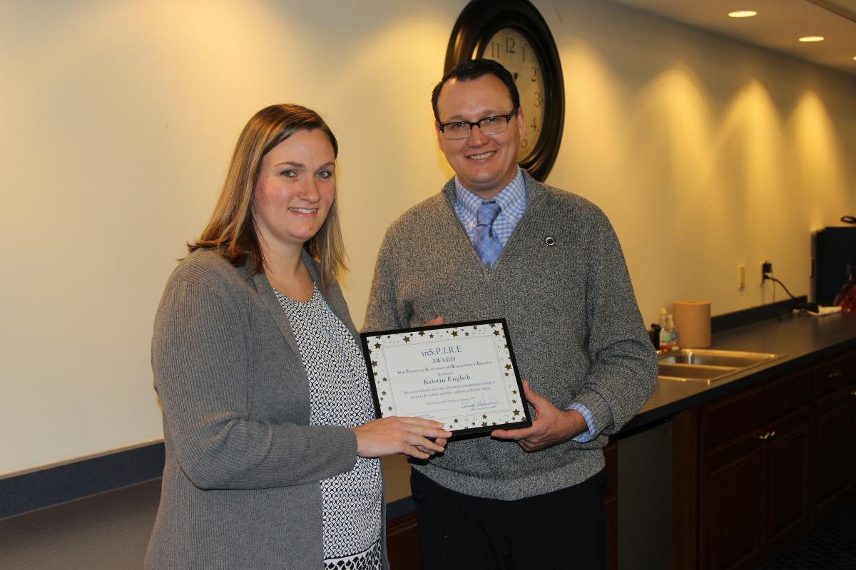 Kristen English receives the Marietta College Inspire Award