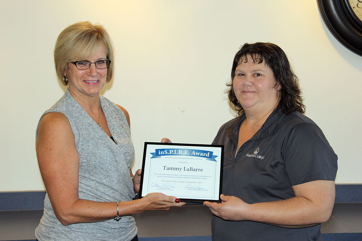 Tammy LaBarre receives the Marietta College Inspire Award