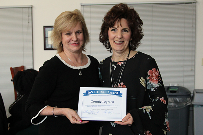 Connie Legraen receives the Marietta College Inspire Award