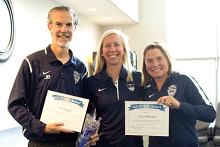 Joe Bergin and Tracy Blasius Connie Legraen receives the Marietta College Inspire Award