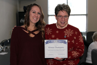Kristen Thompson receives the Marietta College Inspire Award