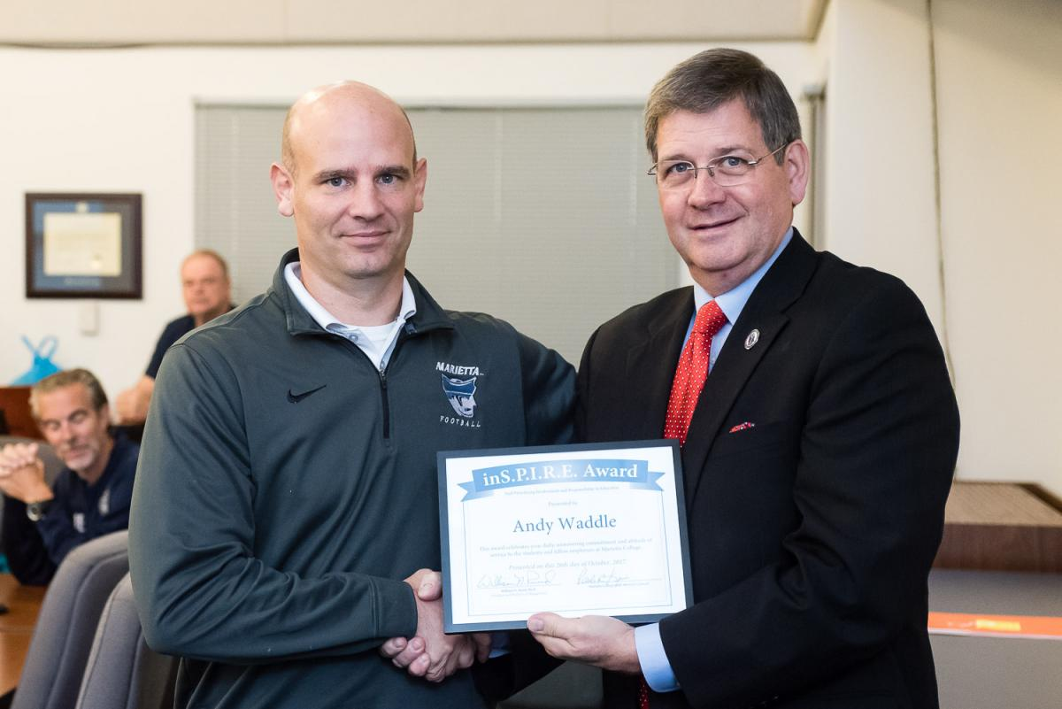 Andy Waddle receives the Marietta College Inspire Award