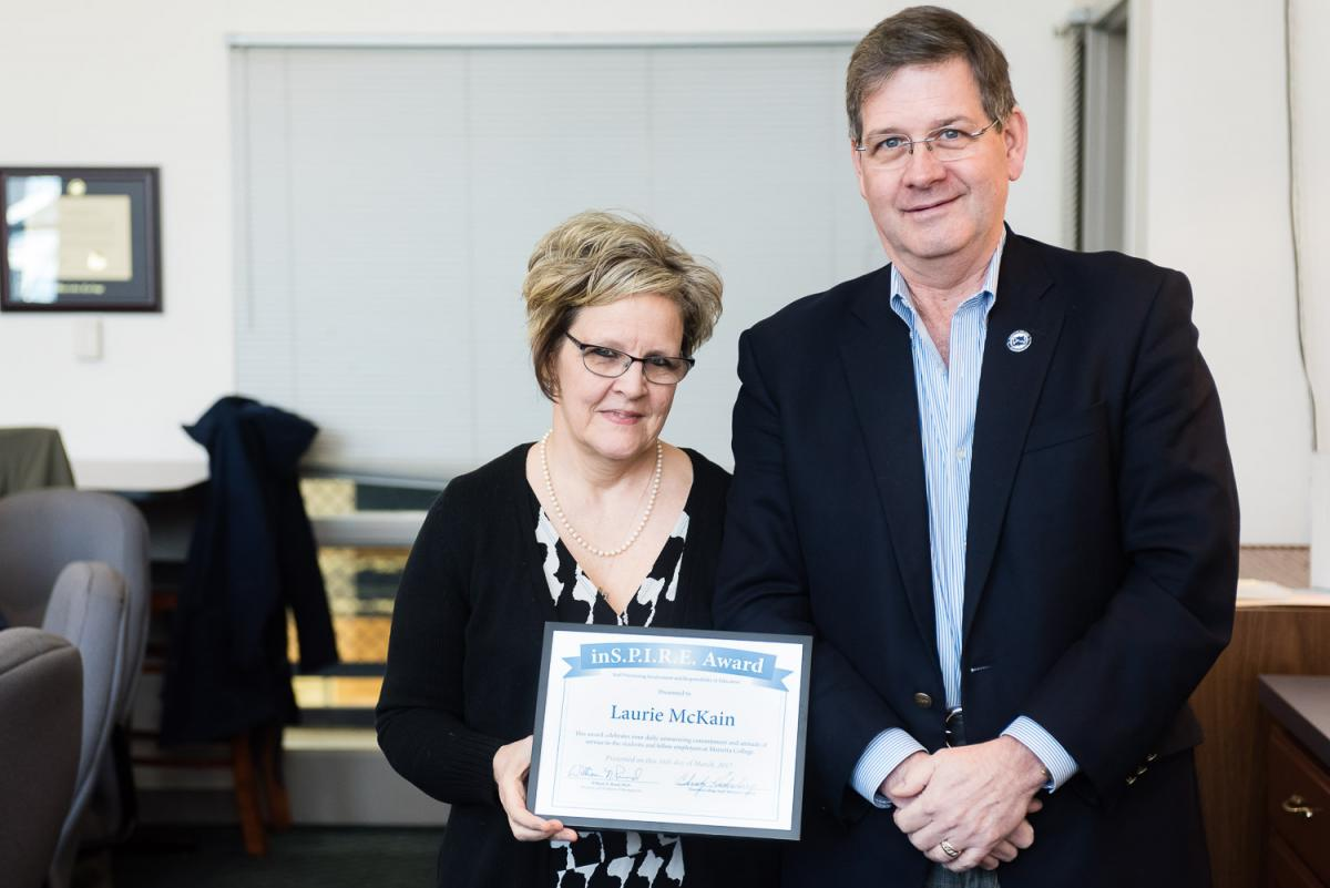 Laurie McKain receives the Marietta College Inspire Award