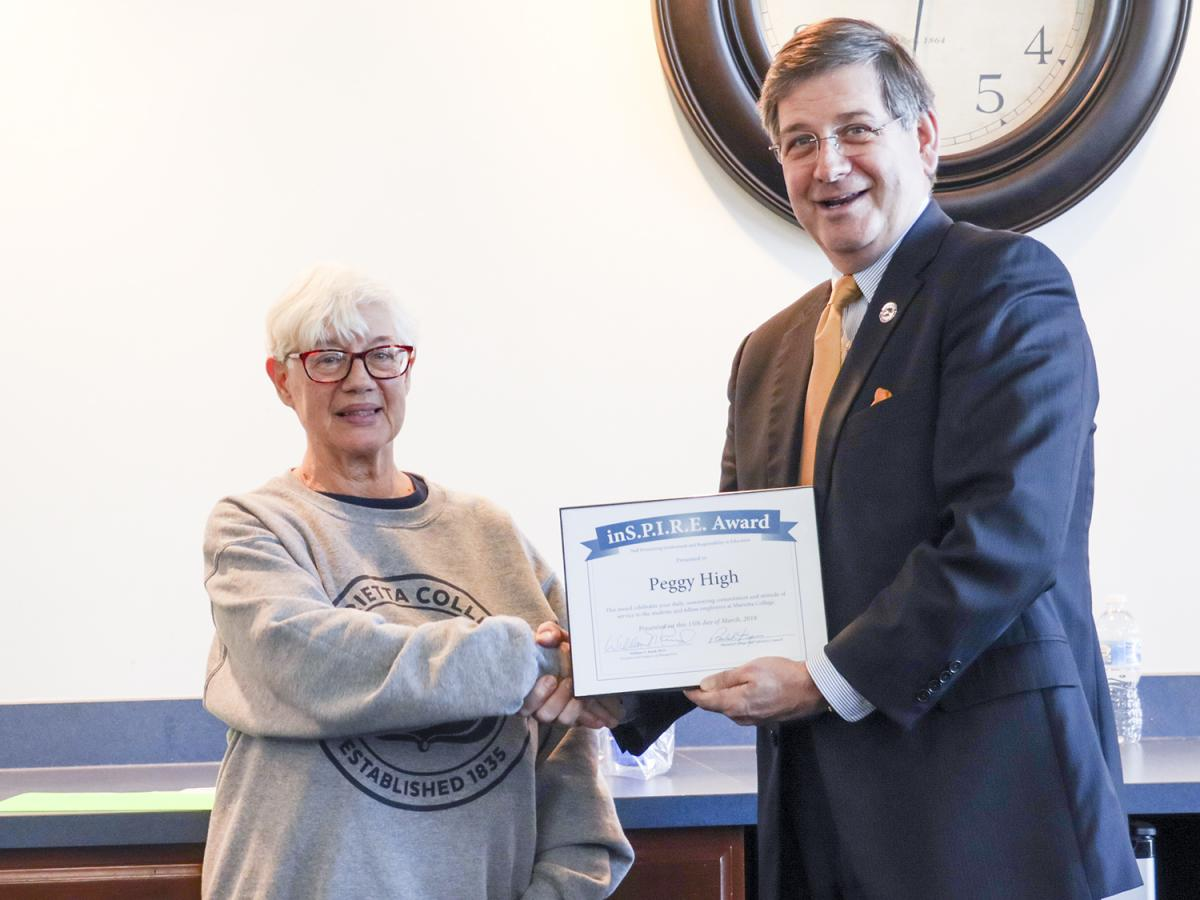 Peggy High receives the Marietta College Inspire Award