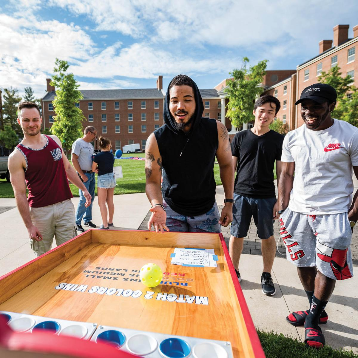 Students were excited to see the return of Doo Dah Day this spring. Trey King '17 competes in one of the many games set up for students near Harrison Hall.