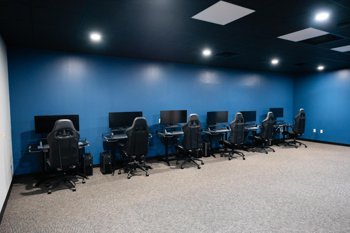 Another view of the eSports Arena with Gaming PCs, Desks, and Chairs