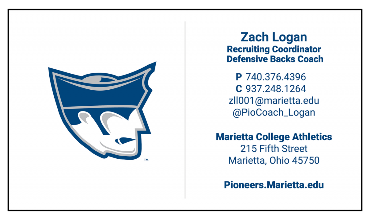 Brand guide athletics visual identity guidelines marietta college individual campus units or persons may not design their own marietta college business cards reheart Image collections