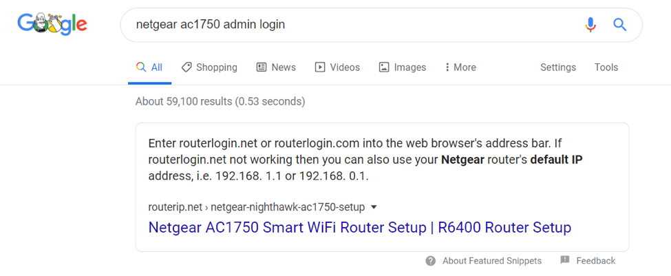 Google screenshot of search for netgear router login info