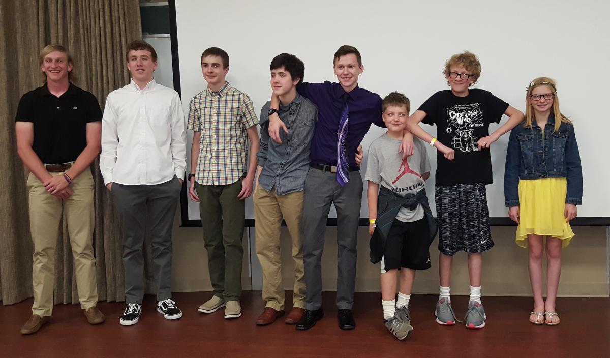 From left to right: Zach Deskins, Cyrus Rhodes, Spencer Tenney, Greyson Turner, Brandon Ologeanu., D.J.West, Caden Bourdon,  and Elizabeth Haller.