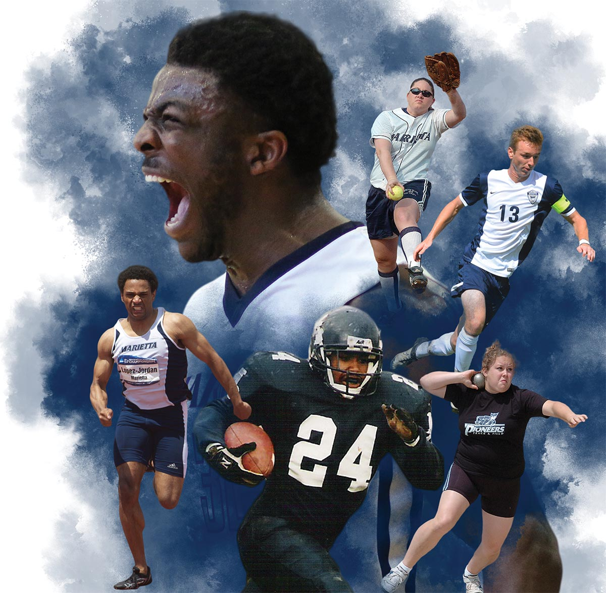A collage of 6 star marietta college athletes