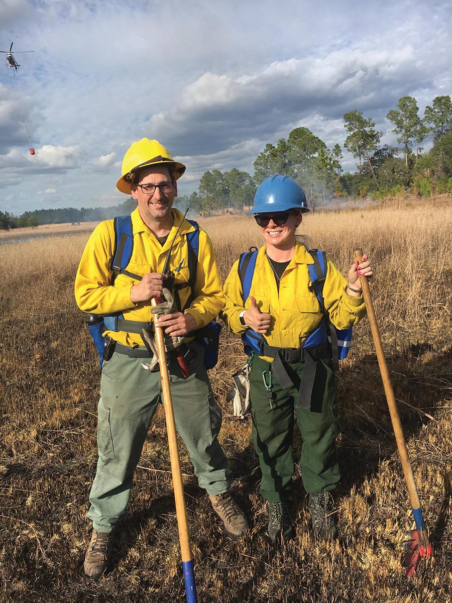Ben Reed '16 and Maggie Bordas '17 met up by chance in in January on the fireline in Wayne National Forest
