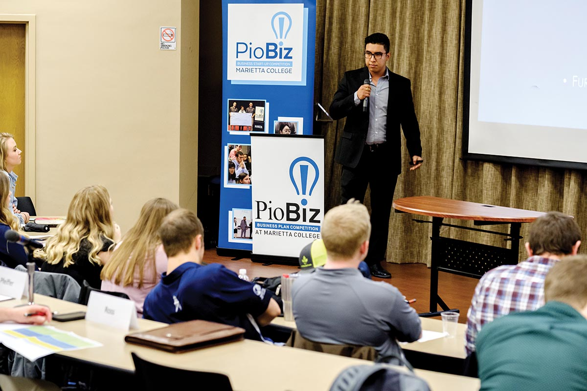 Marietta College Petroleum Engineering major Luis Chao '21 presents in the Round 2 (Proof of Concept) phase of the PioBiz Competition