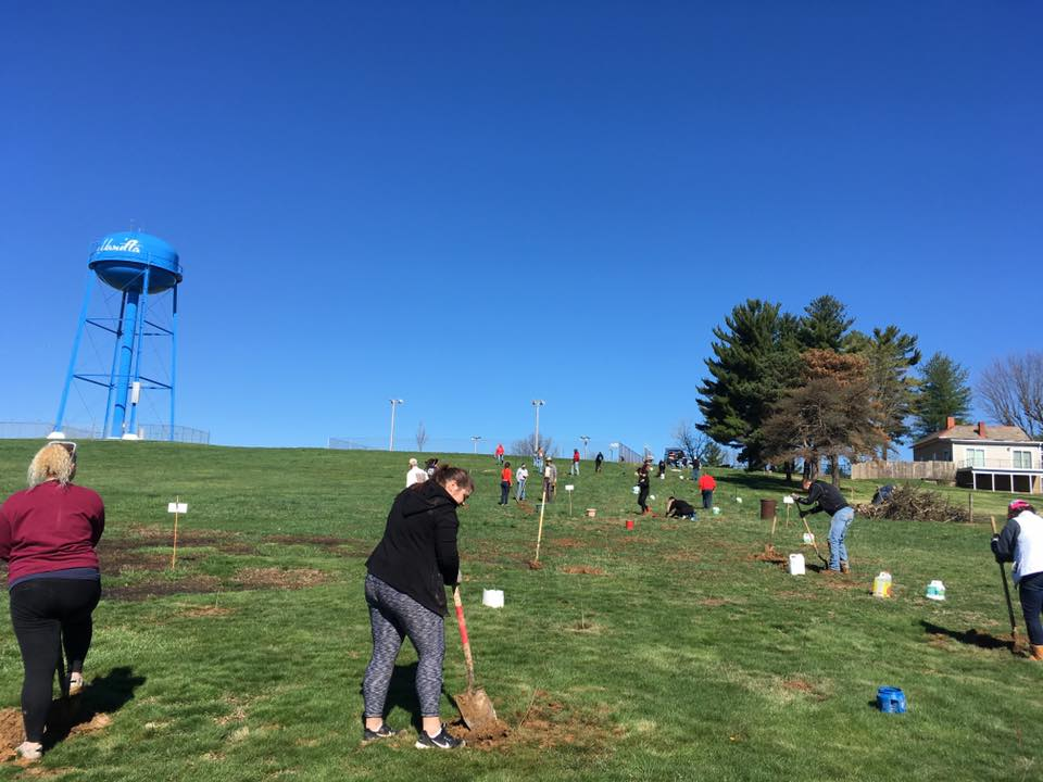 A volunteer shoveling in a field as part of Marietta College's community service day