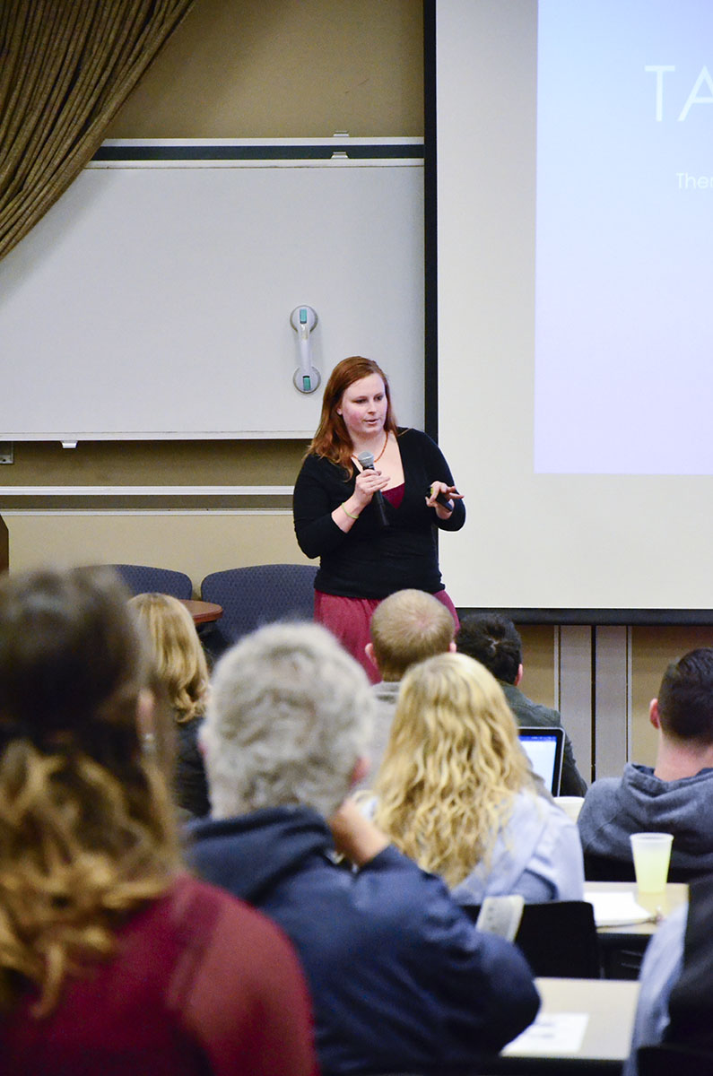 Courtney Knoch, Owner of Silver Linings, Presents during the Feb. 2nd, 2017 PioPictch