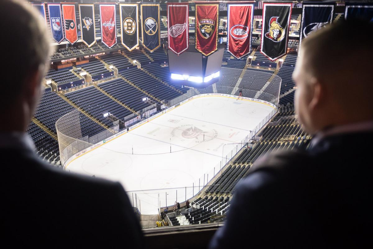 Marietta College students look over the ice rink belonging to the Columbus Blue Jackets
