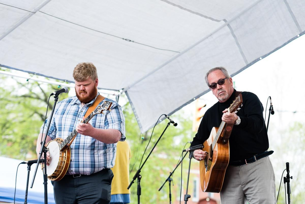 Steven Moore '13 and fellow musician Larry Hall performed a song for a large crowd