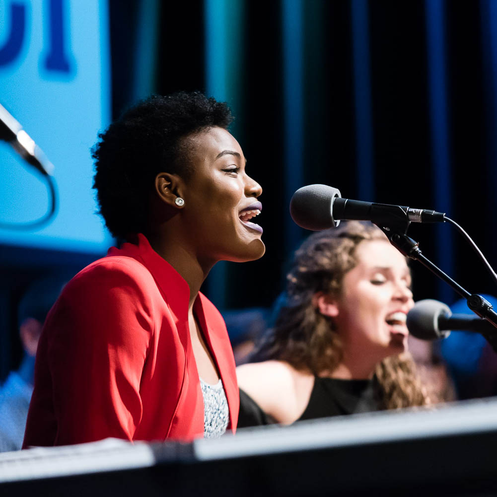 Grace Matombe '20 sang gospel music as Sadie Johnson '19 provided backup vocals and played guitar during a taping of PBS's Songs at the Center