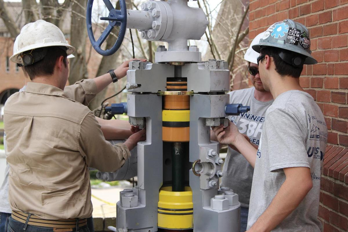 The Wunnenberg 38H wellhead was installed and dedicated during a mid-April ceremony on campus. Derek Krieg '19 and fellow members of the Energy Business Alliance secured donations and help with installation of the Marcellus-style wellhead, which was dedicated in memory of the late Joel Wunnenberg '20