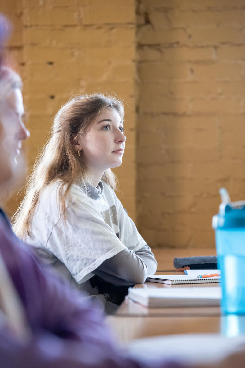 Marietta College Student in a Psychology classroom