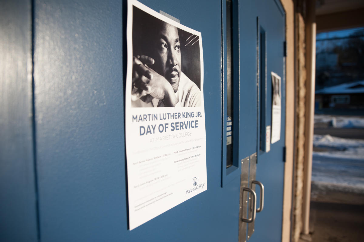 A poster advertising the 2019 MLK Day of Service at Marietta College