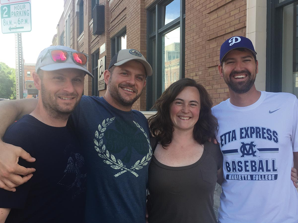 Patrick Hunter '01, Jamie Kendrioski '01, Corey Smith '01 and their spouses visited and road-tripped with Jenny Hershberger '01 in Montana this summer