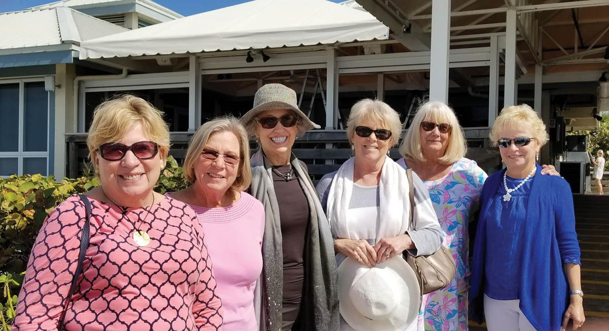 We are Alpha Xi Deltas from the classes of 1968 and 1969. Left to right are Pat Griffin Curtin '69, Bobbie Lawlor Jahnes '69, Bobbi Whitford Schwarz '69, Joan Oxenham Pyne, Jean Anderson Jory '68 and Sue Spinney Conklin '69
