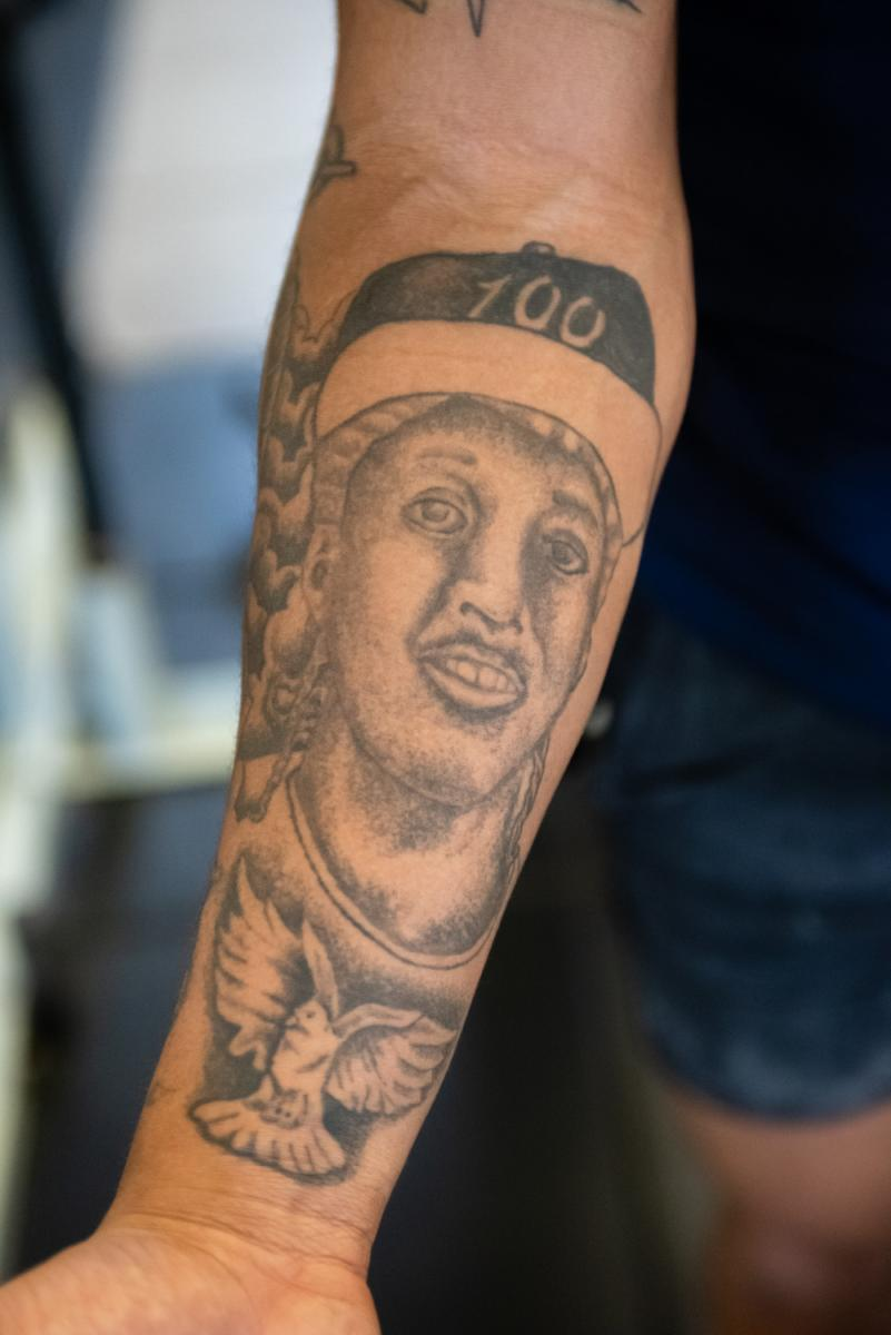 Inside of TJ King's '22 arm tattoo