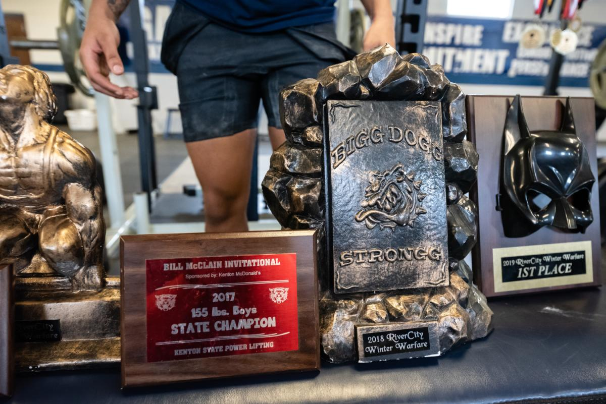 More TJ King '22 Powerlifting trophies