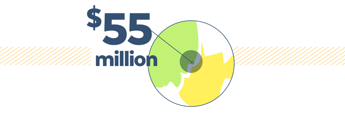 Total impact graphic - 55 million dollars