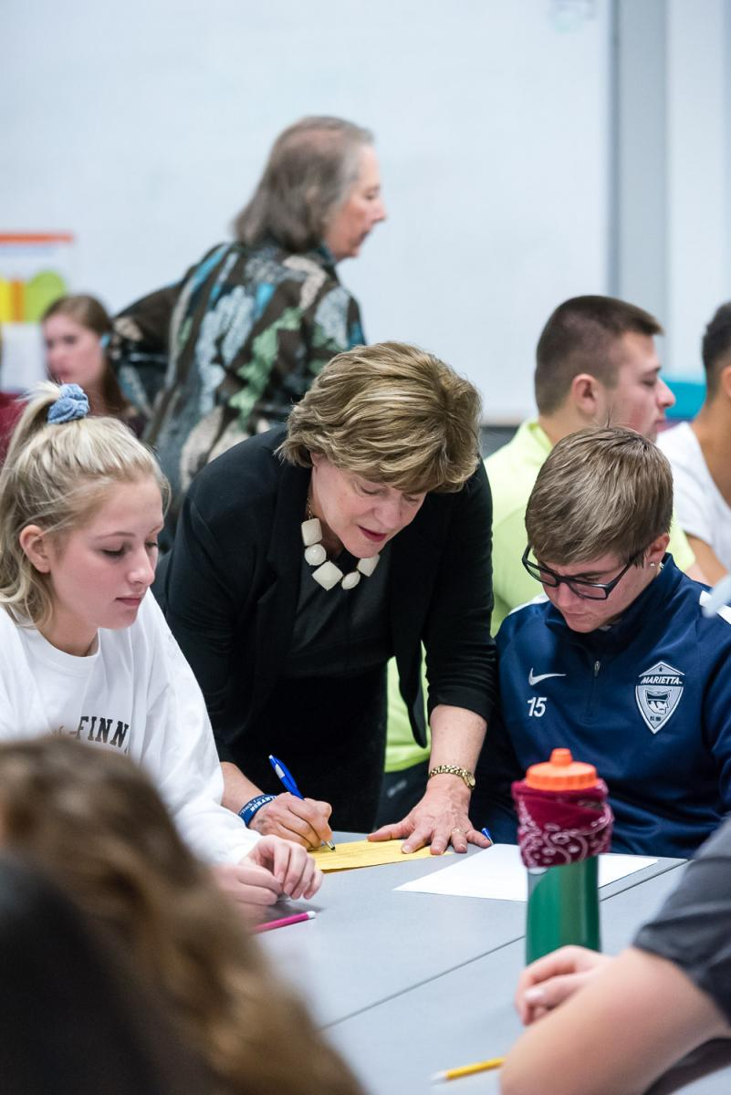 Carole Hancock works with Education students at Marietta College