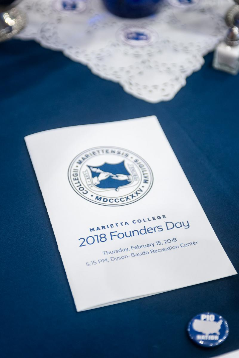 Program from the 2018 Marietta College Founders Day