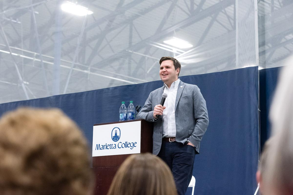 J.D. Vance, author of the 2016 best-selling book Hillbilly Elegy: A Memoir of a Family and Culture in Crisis, spoke to campus on Feb. 8th as part of the 2017-18 Esbenshade Series