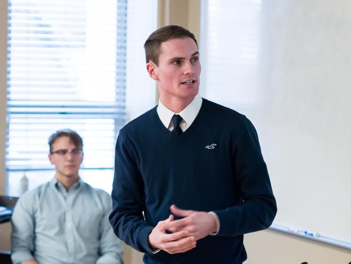 Derek Krieg '19 (shown) and business partner Sebastian Ziaja '20 pitched their Oilfield Basics concept during this year's PioBiz Proof of Concept stage
