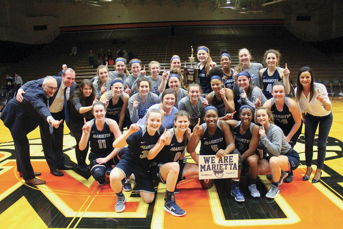 The 2017-18 women's basketball team, led by coach Kole Vivian, made program history in February when the squad beat Ohio Northern University to win its first OAC Tournament Championship. The win earned them a spot in the NCAA Division III Tournament