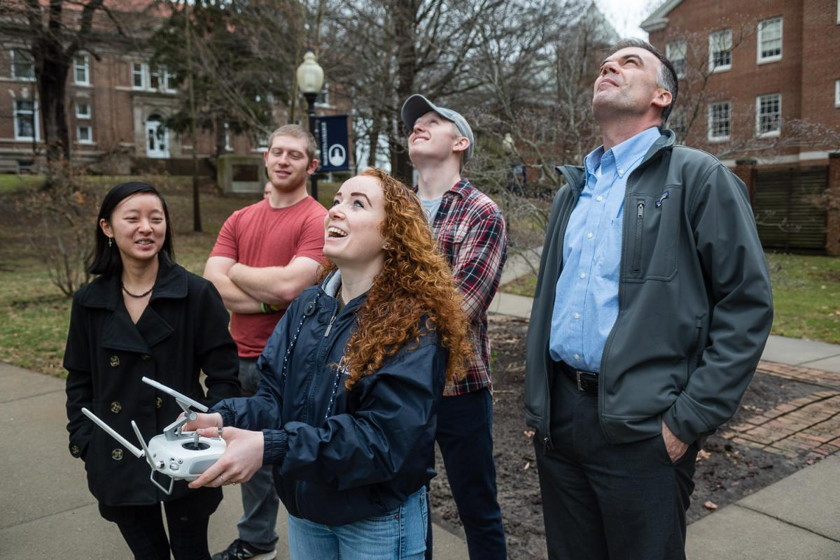 McCoy History Professor Matt Young and his Geographic Information Systems (GIS) Mapping class used a drone to survey campus