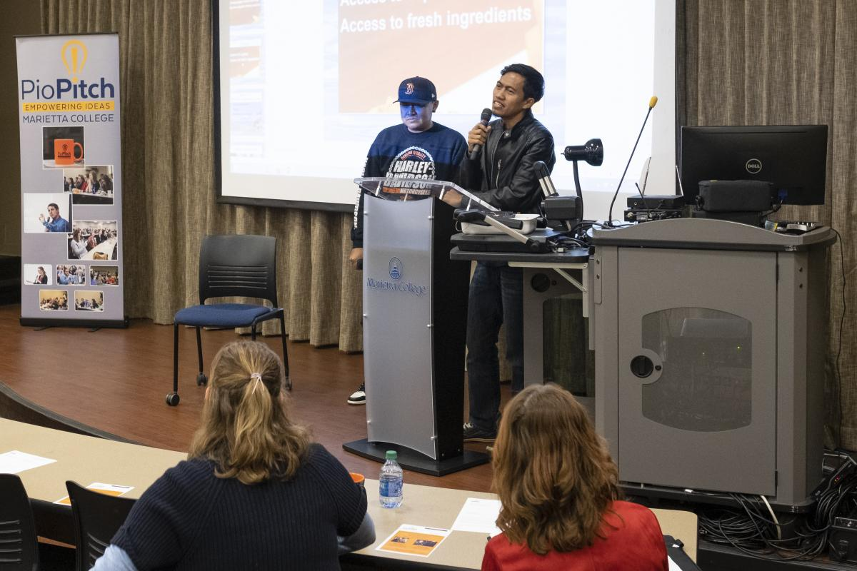 Moh Basir and Bambang Sutano speak at the November 21, 2019 PioPitch at Marietta College