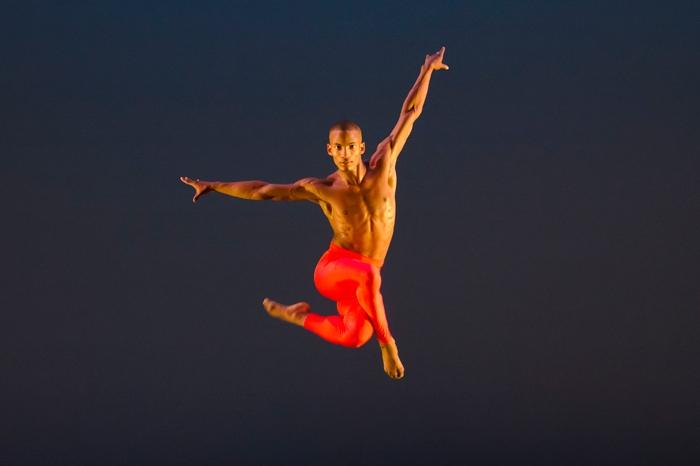 Dancer gliding through the air