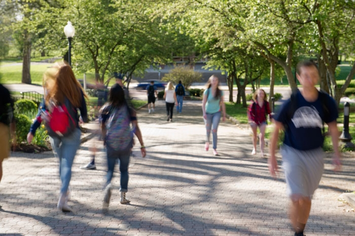 Students walking along The Christy Mall